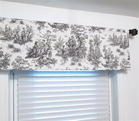 black white toile rod pocket curtain valance handmade in usa