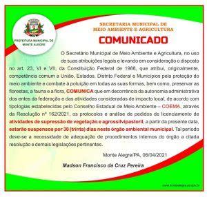 COMUNICADO DO SECRETÁRIO DE MEIO AMBIENTE MUNICIPAL ...