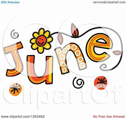 June Month Clipart Colorful Text Illustration Royalty