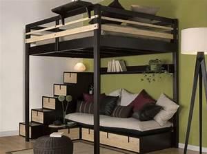 Lit Mezzanine Double : studio nos 30 id es de rangements bien pens s ~ Premium-room.com Idées de Décoration