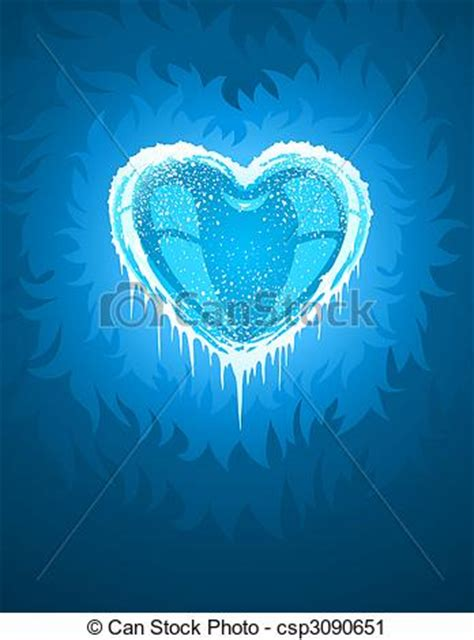 blue cold icy heart illustration clipart search
