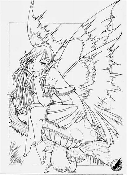 Coloring Pages Printable Fairy Gothic Fairies Adult