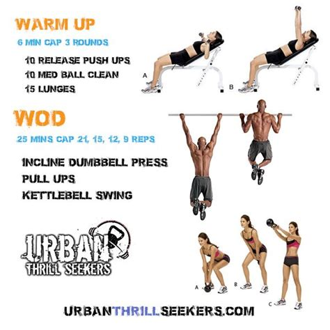ups kettlebell clean push pull crossfit workout incline ball swing release workouts med dumbbell press amrap wod swings lunges daily