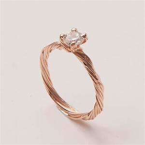 Twig Engagement Ring 14K Rose Gold and Diamond by doronmerav