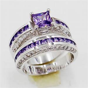 Brand princess cut 6mm amethyst 10kt gold filled wedding for Amethyst wedding ring sets