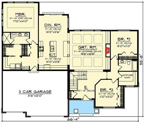 gabled craftsman ranch home plan ah st floor master suite cad  craftsman