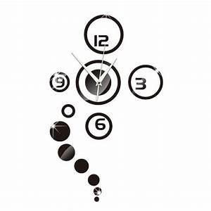 Horloge Moderne Murale : horloge murale moderne design d coratif effet miroir noir achat vente horloge pendule ~ Teatrodelosmanantiales.com Idées de Décoration