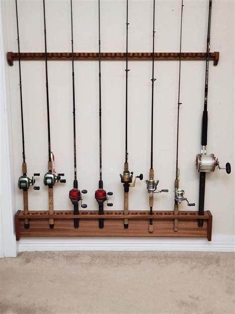 fishing rod rack large  pole capacity wall mount mahogany etsy fishing rod rack rod rack