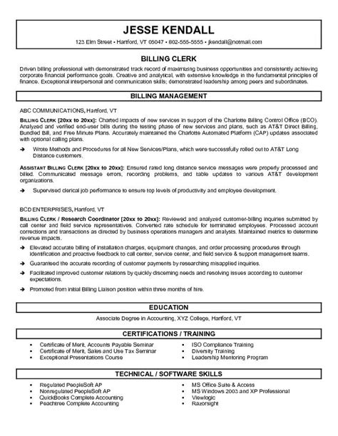 accounting clerk resume sle 28 images accounting clerk sle resume for billing 28 images 28 billing resume sle