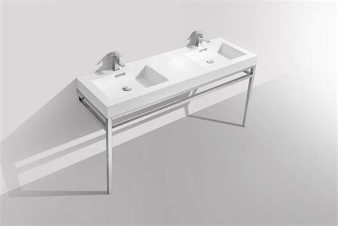 haus  double sink stainless steel console  white