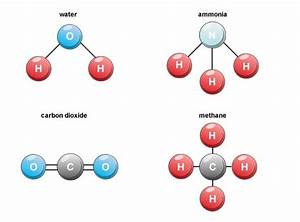 Molecules of water, ammonia, carbon dioxide, and methane ...