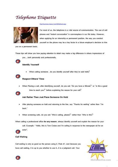 telephone etiquette worksheet  esl printable