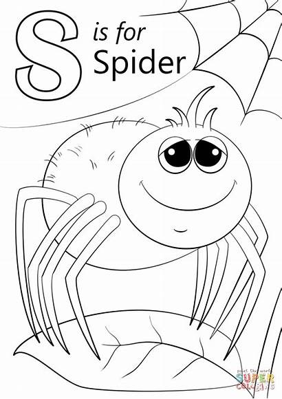 Letter Coloring Spider Pages Preschool Printable Spring