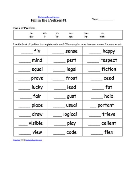 worksheets and activities prefixes and suffixes