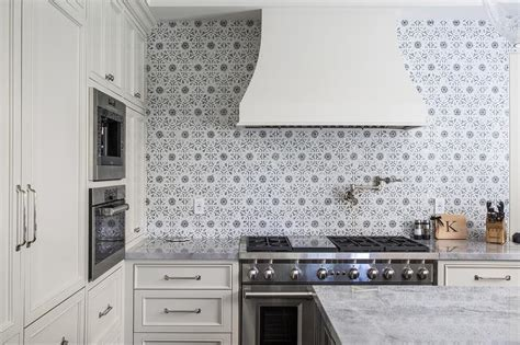 Ivory Kitchen Cabinets with Gray Walker Zanger Mosaic