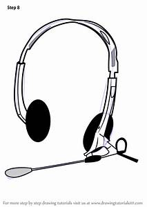 Step by Step How to Draw Headphones with Microphone ...