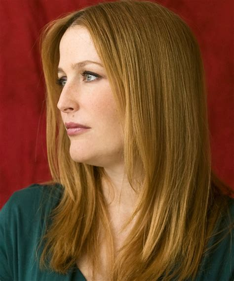 gillian anderson casual long straight hairstyle