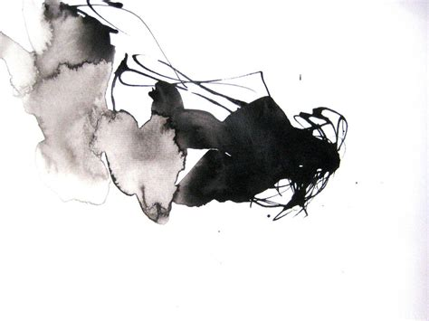Abstract Black Ink by 9x12in Ink Watercolor Zen Contemporary Black