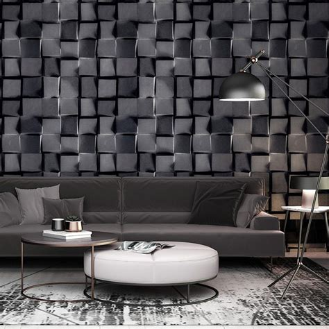 Abstract Wallpaper Room by 3d Stereoscopic Abstract Black White Plaid Wallpaper