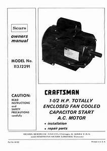 1980 Craftsman 113 12291 1 U00c3 U201a U00c2 U00bd Hp Tefc Capacitor Start Ac