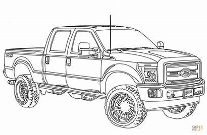 Coloring Ford Lifted F250 Truck Pages Clipart
