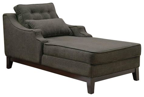 coaster upholstered grey chaise in black finish transitional indoor chaise lounge chairs