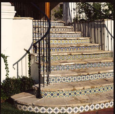 staircase riser tiles mediterranean staircase los