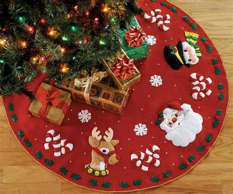 santa friends 43 quot bucilla felt christmas tree skirt kit 86023 fth studio international