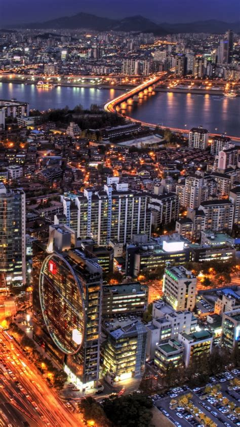 Seoul At Night South Korea Iphone 6 Wallpaper Hd Free