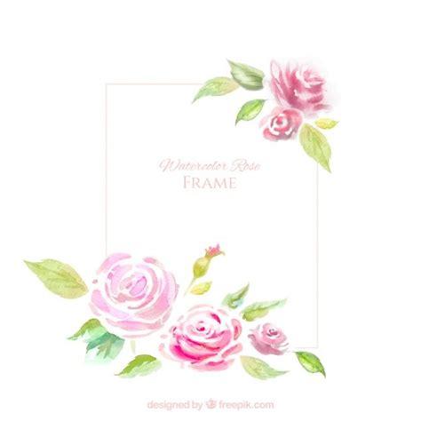 marco decorativo  rosas de acuarela vector gratis