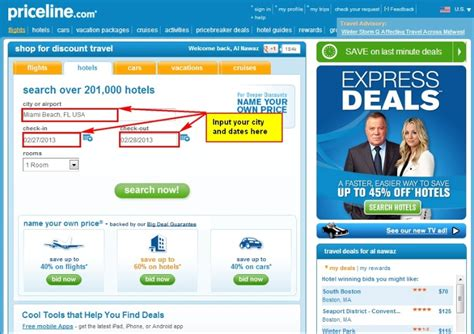 bidding strategies for booking a hotel using priceline