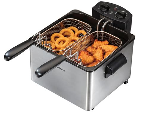 fryer deep hamilton beach professional amazon fryers basket electric stainless steel oil fish fry double frying kitchen food capacity clean