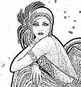 Flapper Coloring Pages Adult Dapper Drawing Embroidery Flappers Sheets Colouring Books sketch template