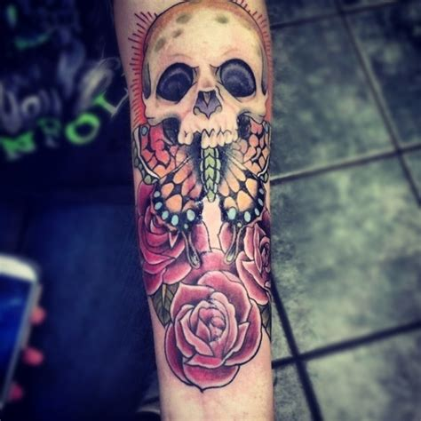 skull tattoo butterfly  roses design  tattoosdesign  tattoos