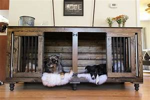 The double doggie dentm indoor rustic dog kennel for two for Dog den furniture