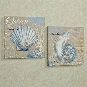 wall canvas art nature canvas art seashell canvas wall With what kind of paint to use on kitchen cabinets for metal nautical wall art