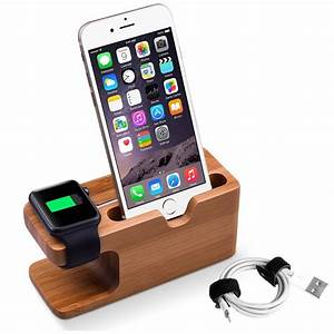 Iphone 5 Ladestation : 2 in 1 bambus ladestation f r apple iwatch iphone halterung docking tischst nder ~ Sanjose-hotels-ca.com Haus und Dekorationen