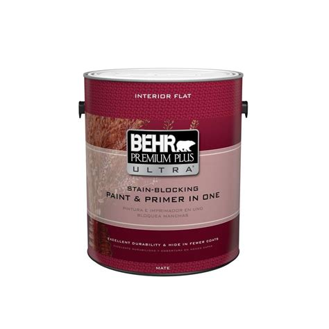 behr premium plus ultra 1 gal ultra white flat interior paint and primer in one 115001