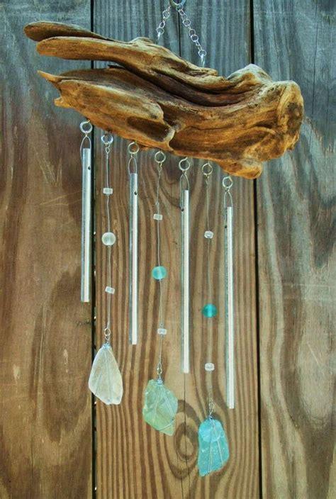 windspiel aus treibholz und polierte glasstuecke basteln