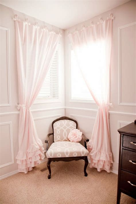 Pink Ruffle Curtains Uk by 25 Best Corner Window Treatments Ideas On
