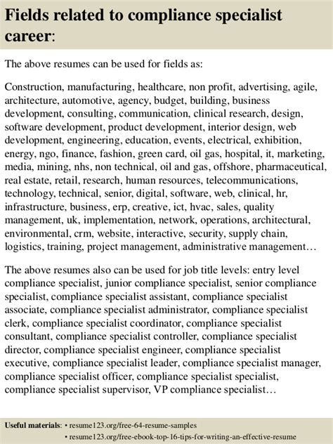 Compliance Specialist Resume by Top 8 Compliance Specialist Resume Sles