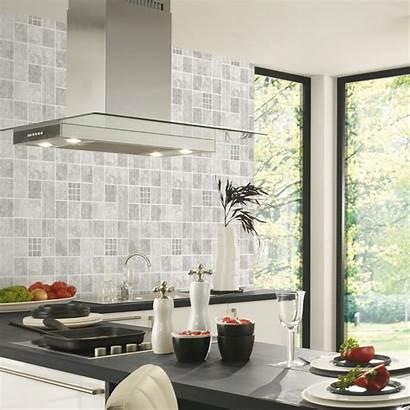 Tile Grey Kitchen Kitchens Wall Effect Textured