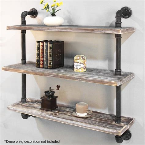rustic wall shelf rustic industrial diy floating pipe shelf