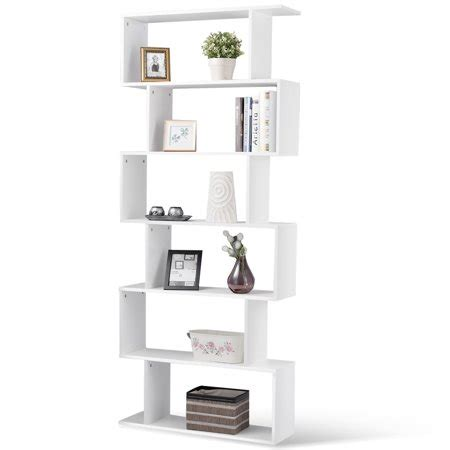 S Shaped Bookcase by Gymax 6 Tier S Shaped Bookcase Z Shelf Style Storage