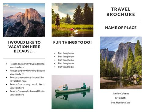 Travel Brochure Template Free Travel Brochure Templates Exles 8 Free Templates