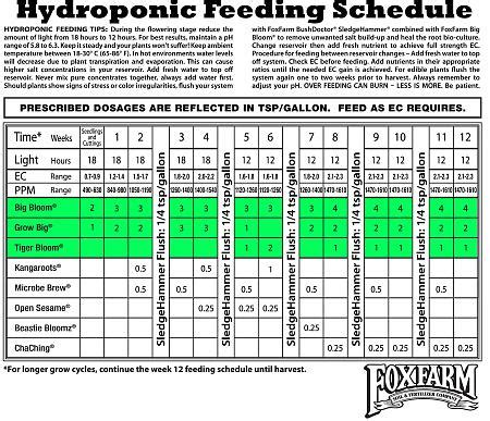 feeding schedule  coco coir  fox farms hydro