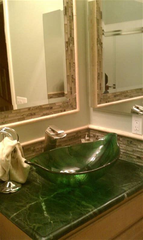 Green Leaf Shaped Vessel Sink   Tropical   Bathroom