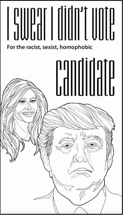 Trump Coloring Donald Pages Vote Adult Digital