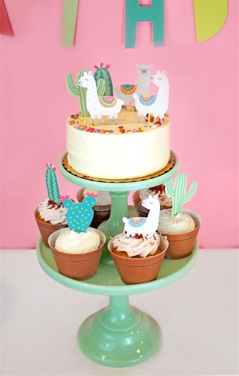 llama  cactus party cupcake toppers party picks