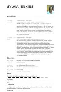 administrative specialist resume administrative specialist resume sles visualcv resume sles database